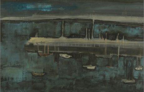 אבשלום עוקשי,(1980-1916.) סירות בנמל , גועש , 50×36 חתום ומתוארך 59