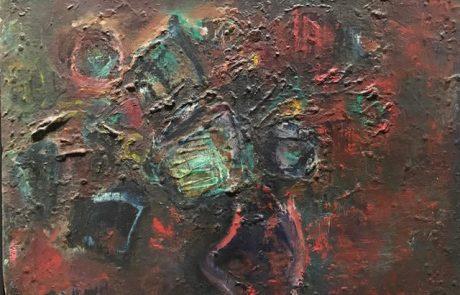 צבי מאירוביץ (1974-1911) מופשט שמן על בד 33×25 חתום.