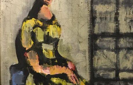 יעקב וקסלר (1995-1912.) דמות אשה שמן על בד 37×55 חתום