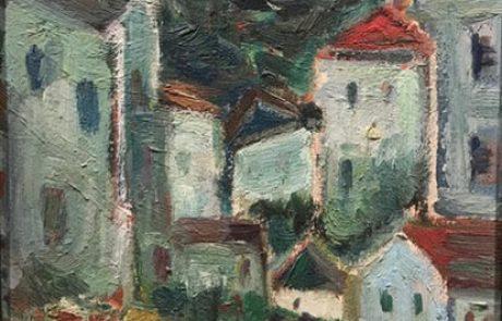 פנחס אברמוביץ (1909 1986) רחוב בעירה , שמן על בד 33×25 חתום
