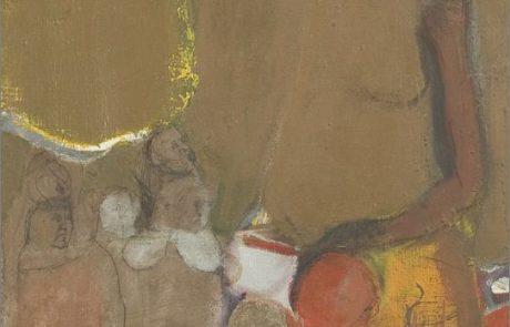 חנה מגד (1926 2011) דמויות , שמן על בד 38×55 חתום .