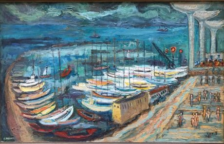 """ציפורה ברנר ( 2010- 1917) המרינה בחוף תל אביב 1981 שמן על בד 100×63 ס""""מ חתום ומתוארך"""
