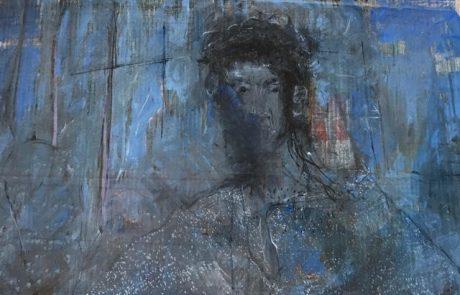 """יחזקאל שטרייכמן (1906 1993) פנדה ואקוורל על נייר 100×70 שנות ה – 70 """" דמות אשה"""
