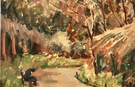 שמואל עובדיהו (אובודובסקי) (1963-1892) שמן על בד 40×50 חתום , פריז שנות ה – 30 דמות בגן .