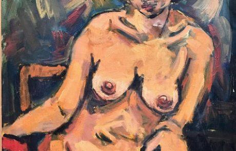 """גרשון רנרט ( 1929 – 2009 ) שמן על בד ( ציפ קטן בבד ) ערום , 60×80 ס""""מ"""