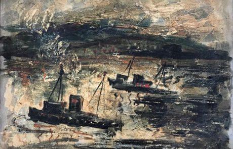 צבי רפאלי ( 1924) שמן על קרטון 64×48 סירות בנמל חיפה